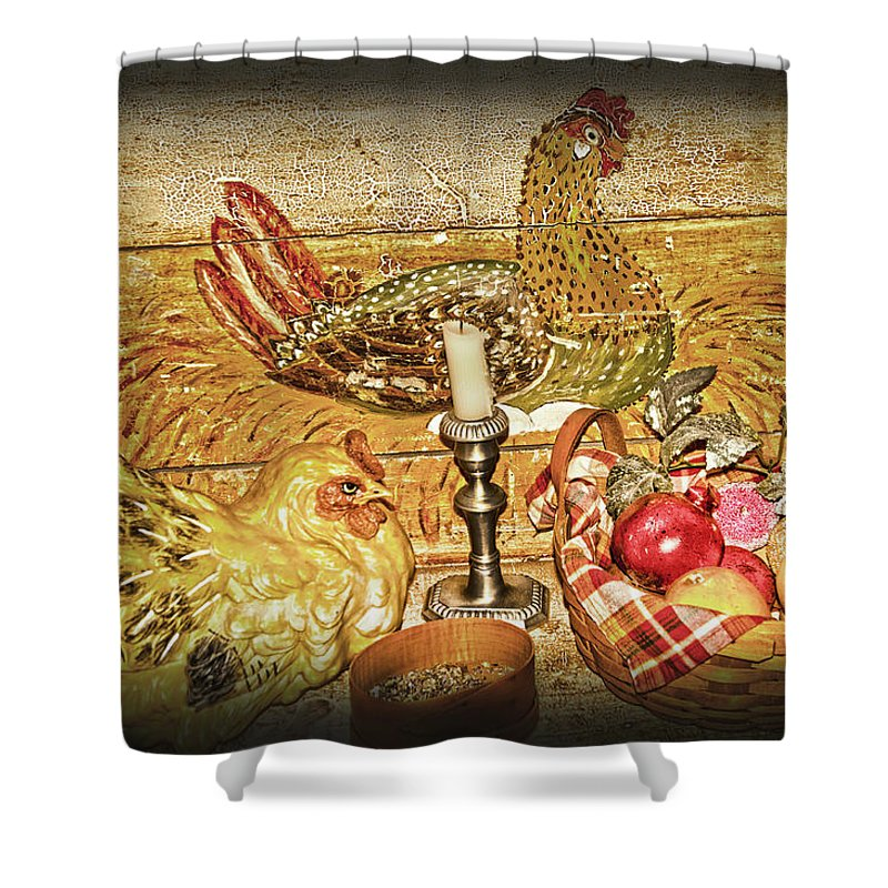 Hen Shower Curtain featuring the photograph Collectibles by Randall Branham