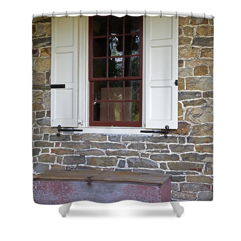 Colonial Shower Curtain featuring the photograph Colonial Shutters Window Frame Stone Wall Wood Box by John Stephens