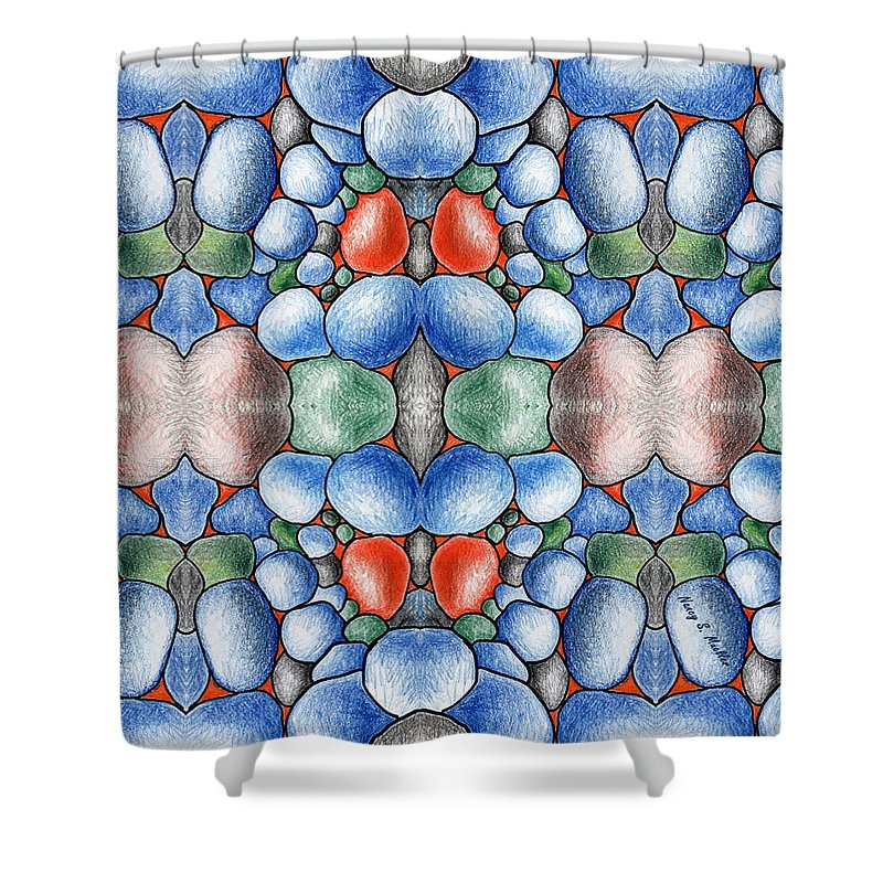Design Shower Curtain featuring the digital art Colored Rocks Design by Nancy Mueller