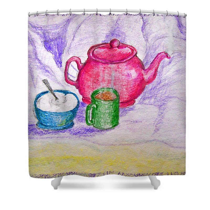 Still Life Shower Curtain featuring the drawing Colorful Coffee by Debbie Portwood