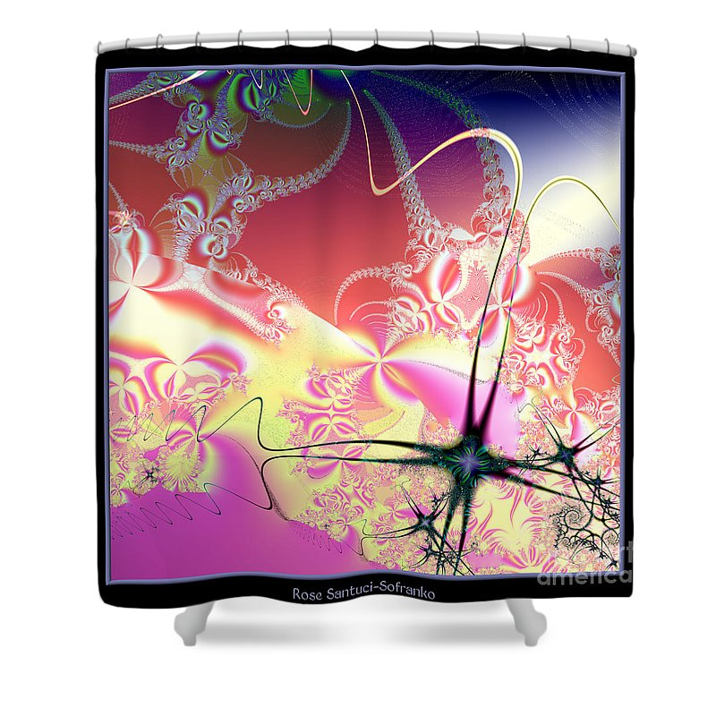 Frost Shower Curtain featuring the digital art Colorful Frost Fractal 126 by Rose Santuci-Sofranko