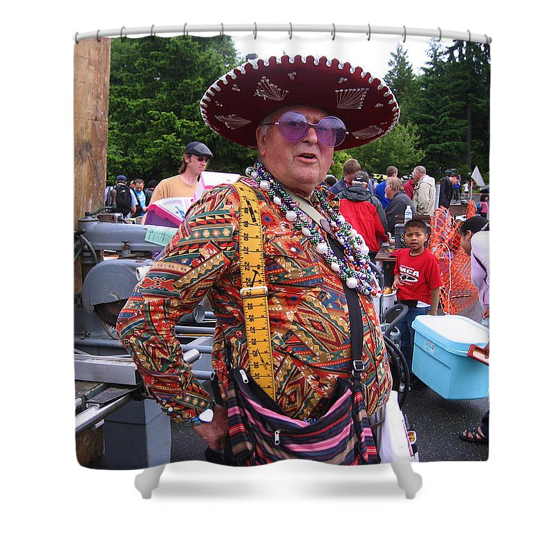 Man Withmexican Hat Shower Curtain featuring the photograph Colorful Man Of The Festival by Kym Backland