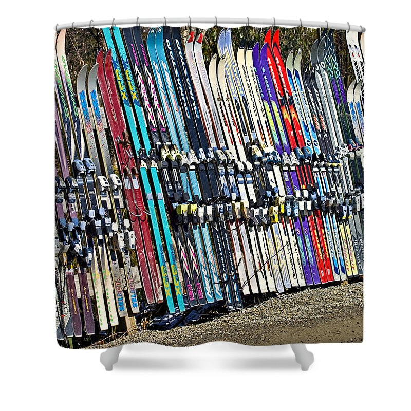 Sport Shower Curtain featuring the photograph Colorful Snow Skis by Susan Leggett