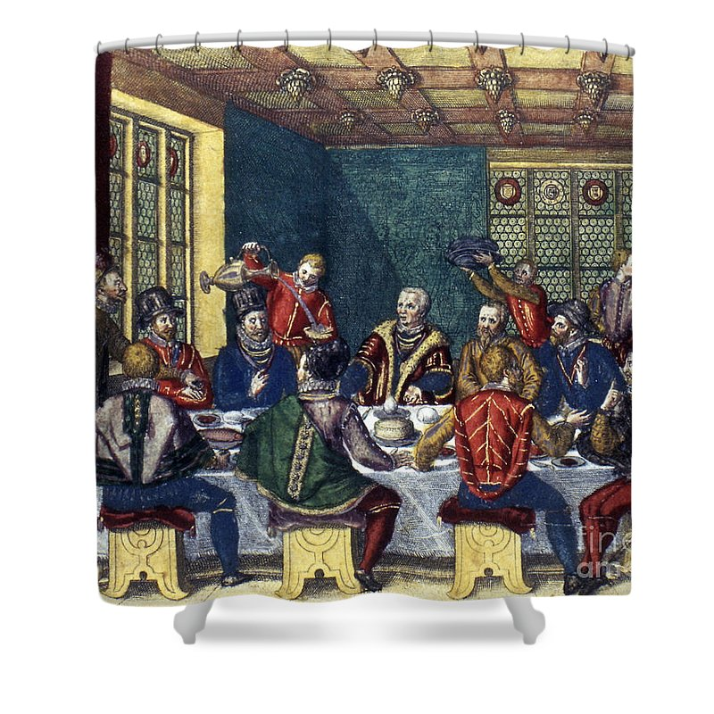 1590 Shower Curtain featuring the photograph Columbus And The Egg by Granger