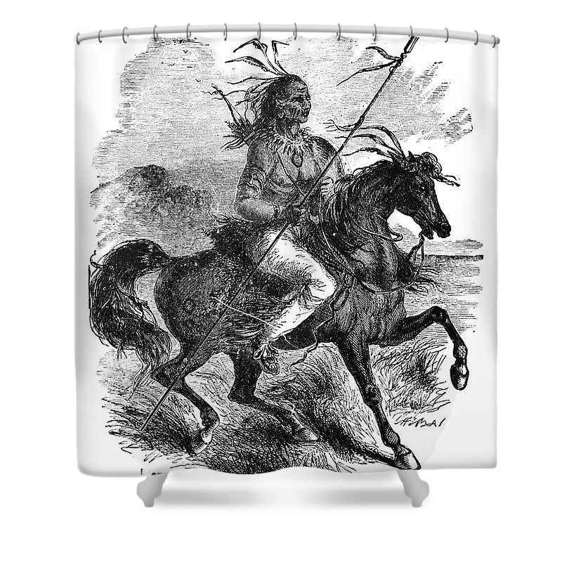 1879 Shower Curtain featuring the photograph Comanche Warrior, 1879 by Granger