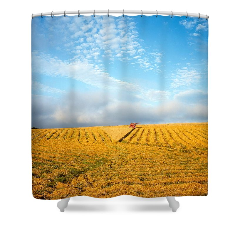 Color Image Shower Curtain featuring the photograph Combine Harvesting A Wheat Field by The Irish Image Collection