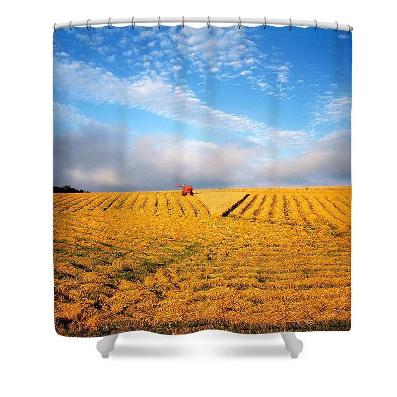 Color Image Shower Curtain featuring the photograph Combine Harvesting, Wheat, Ireland by The Irish Image Collection