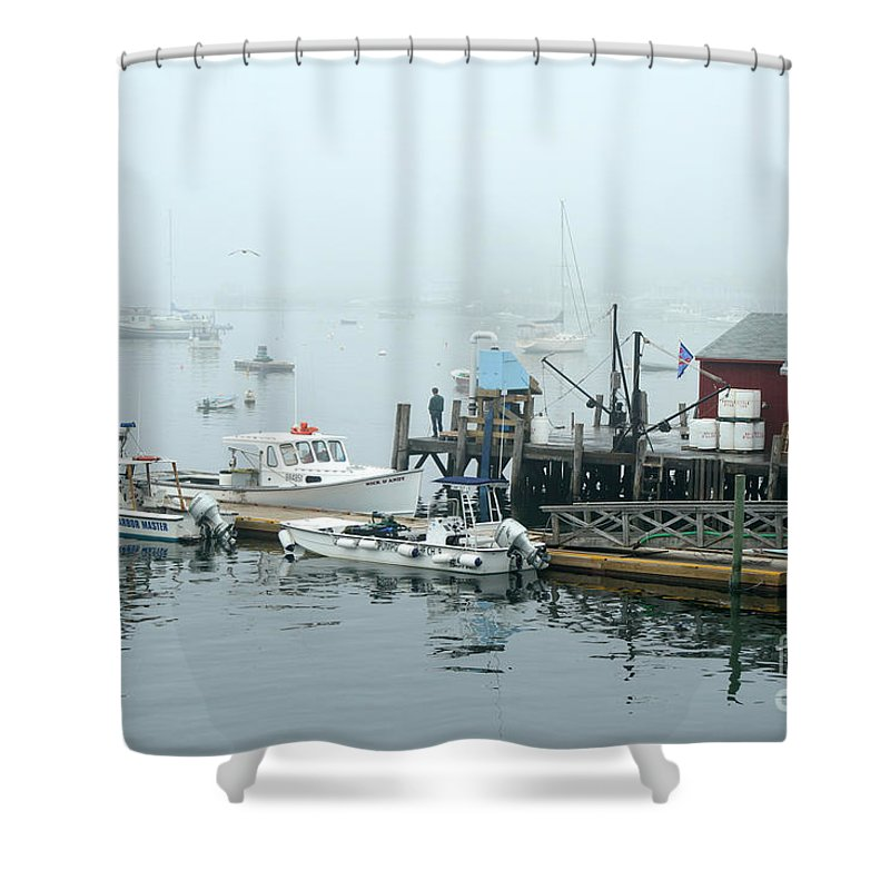 Commercial Lobster Dock Shower Curtain featuring the photograph Commercial Lobster Dock by Ted Kinsman