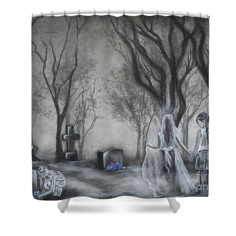 Cemetary Drawings Shower Curtains