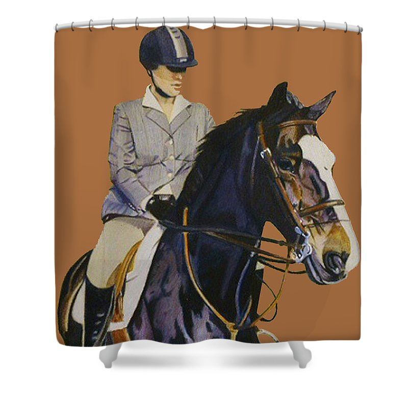 Hunter Shower Curtain featuring the painting Concentration - Hunter Jumper Horse And Rider by Patricia Barmatz