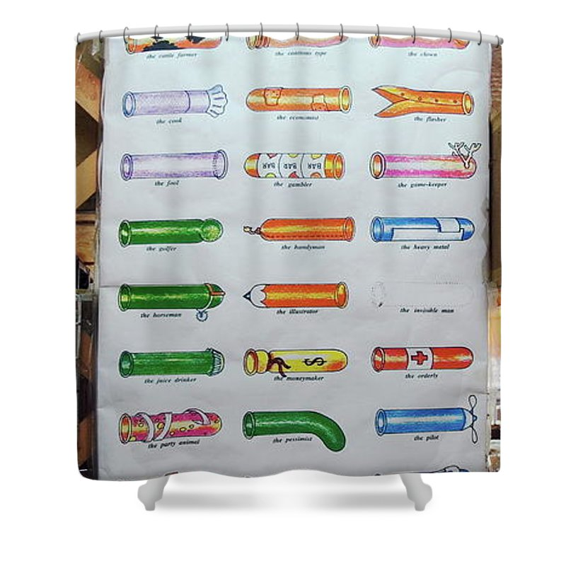Condom Compendium Sign Shower Curtain featuring the photograph Condom Compendium Sign Thailand by Sally Weigand