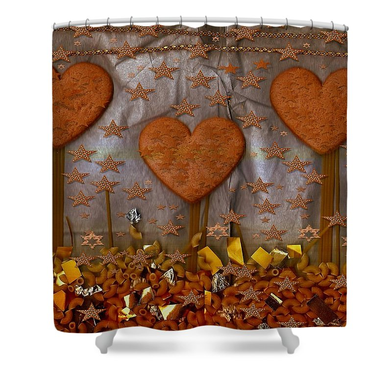 Cookie Shower Curtain featuring the mixed media Cookie Trees by Pepita Selles