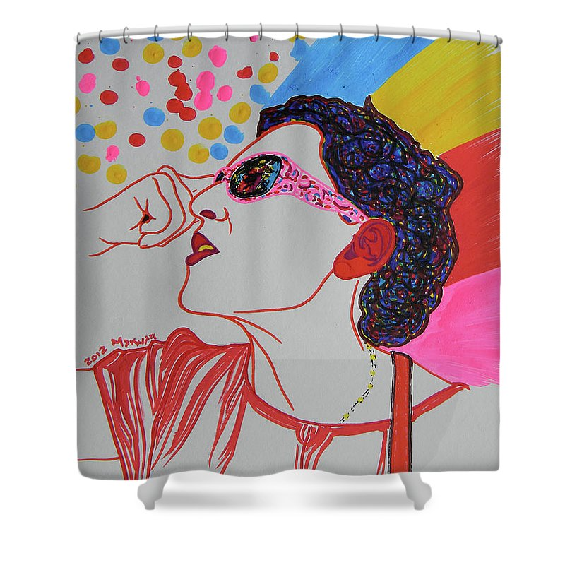 Woman Shower Curtain featuring the drawing Coolpic by Marwan George Khoury
