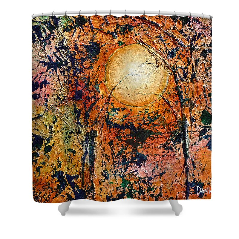 Abstract Landscape Shower Curtain featuring the painting Copper Moon by Dan Whittemore