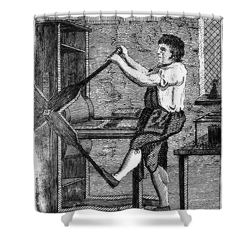 1807 Shower Curtain featuring the photograph Copper Plate Printer, 1807 by Granger