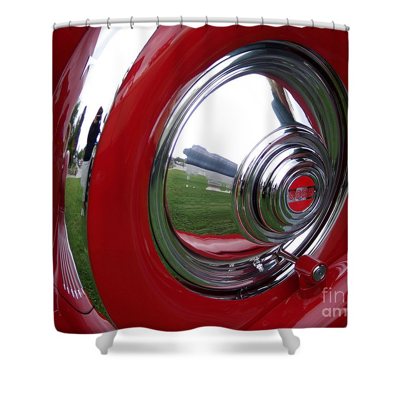Cord Shower Curtain featuring the photograph Cord Hubcap by Jim And Emily Bush