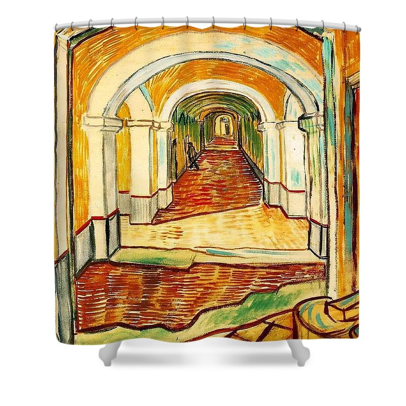 Impressionism Shower Curtain featuring the painting Corridor In The Asylum by Sumit Mehndiratta
