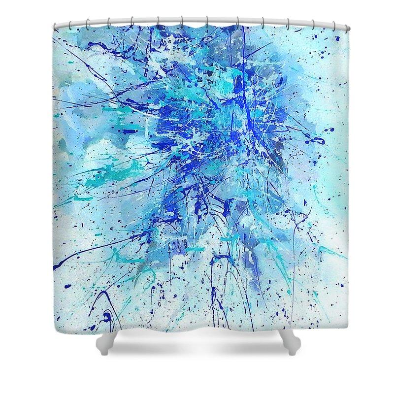 Australian Art Shower Curtain featuring the painting Corroboree 2 by Giro Tavitian