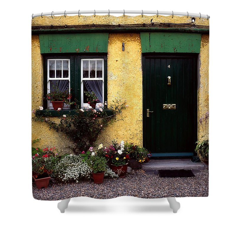 Architectural Exteriors Shower Curtain featuring the photograph Cottage At Bushmills, Co Antrim, Ireland by The Irish Image Collection