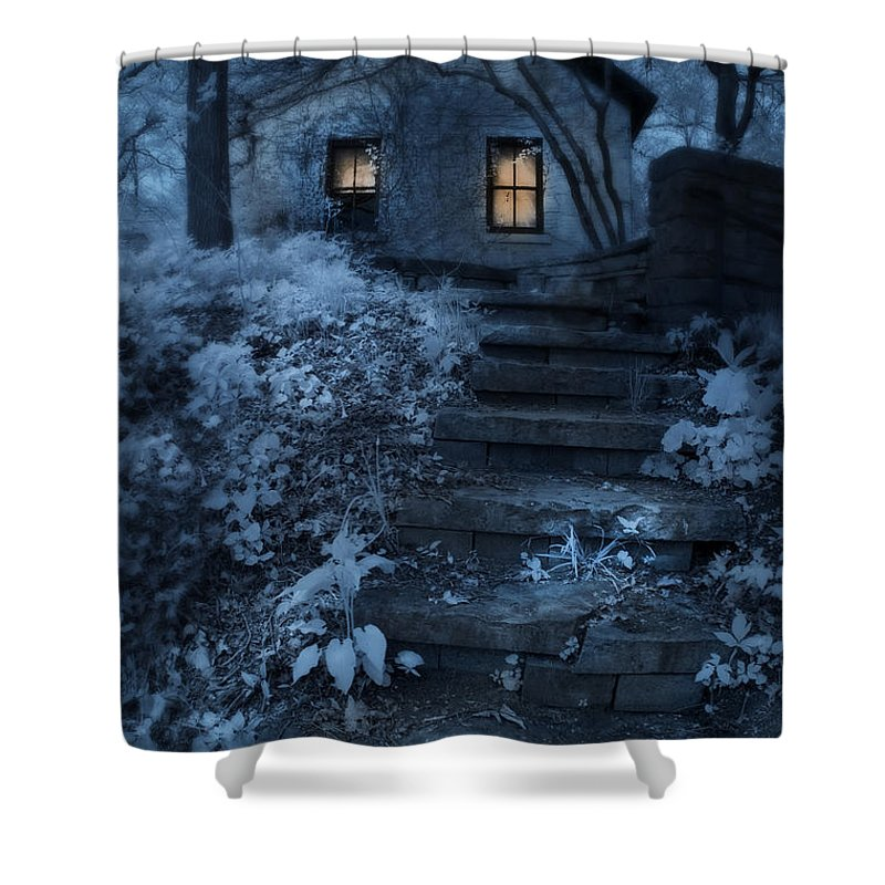 Cottage Shower Curtain Featuring The Photograph In Woods At Night By Jill Battaglia