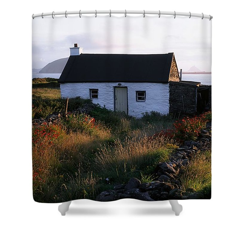 Blooming Shower Curtain featuring the photograph Cottage, Near Dunquin, Dingle by The Irish Image Collection