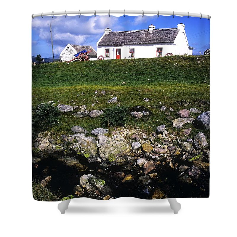 Travel Destination Shower Curtain featuring the photograph Cottage On Achill Island, County Mayo by The Irish Image Collection