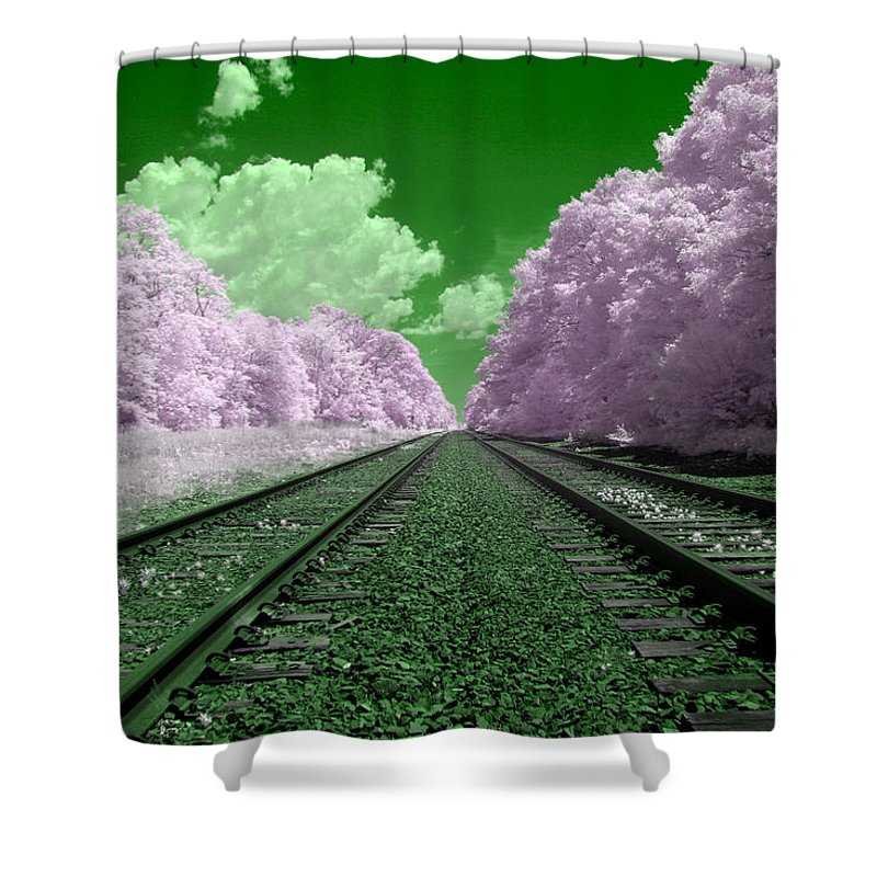 Railroad Tracks Shower Curtain featuring the photograph Cotton Candy Trees by Steve Gravano