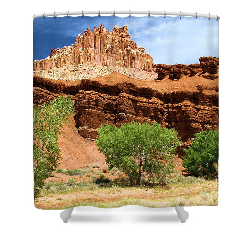 The Castle At Capitol Reef Shower Curtain featuring the photograph Cottonwood Castle by Adam Jewell