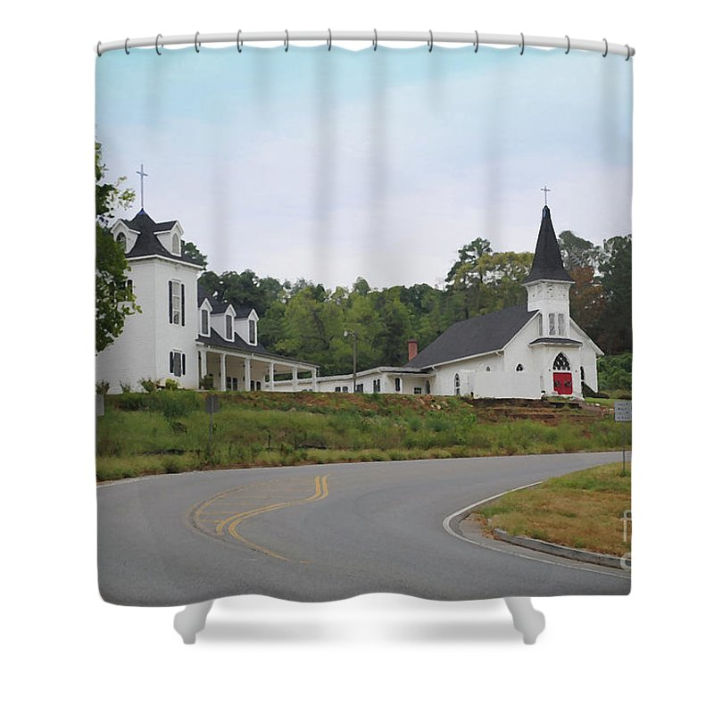 Church Shower Curtain featuring the photograph Country Church In Texture by Jost Houk