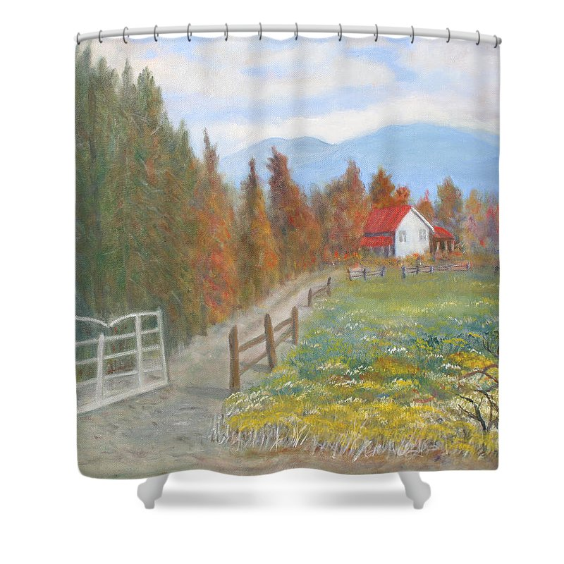 Shower Curtain featuring the painting Country Road by Ben Kiger