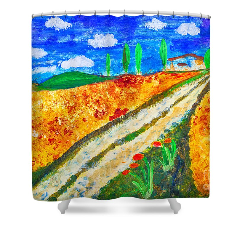 Art Shower Curtain featuring the painting Country Tracks by Simon Bratt Photography LRPS