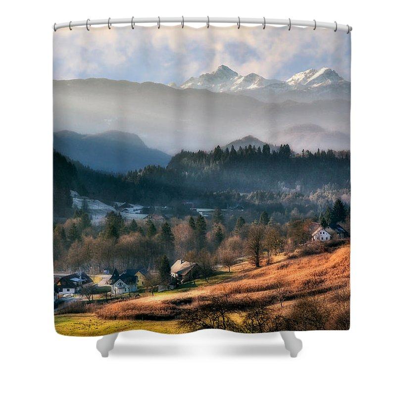 Slovenia Shower Curtain featuring the photograph Countryside. Slovenia by Juan Carlos Ferro Duque