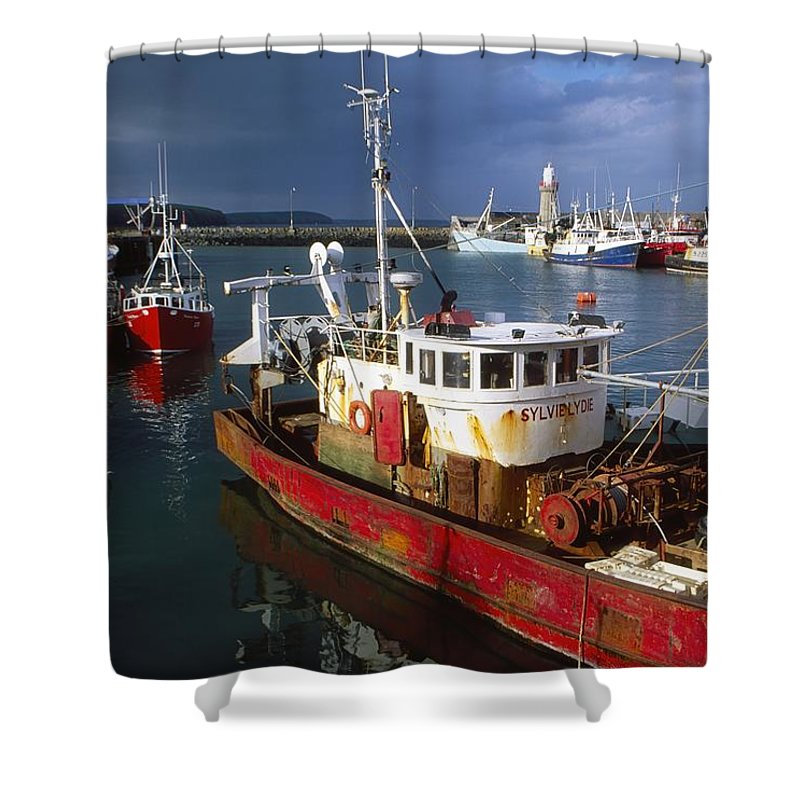 Ireland Shower Curtain featuring the photograph County Waterford, Ireland Fishing Boats by Richard Cummins