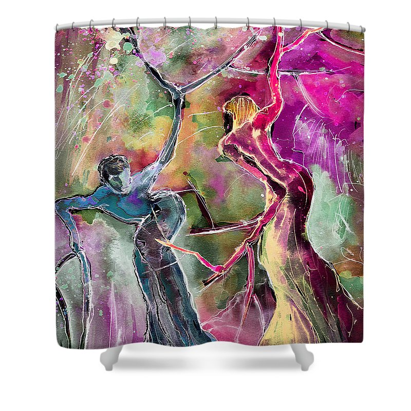 Fantascape Shower Curtain featuring the painting Coup De Tete by Miki De Goodaboom