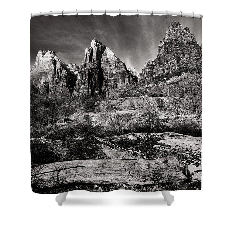 Art Shower Curtain featuring the photograph Court Of The Patriarchs - Bw by Christopher Holmes