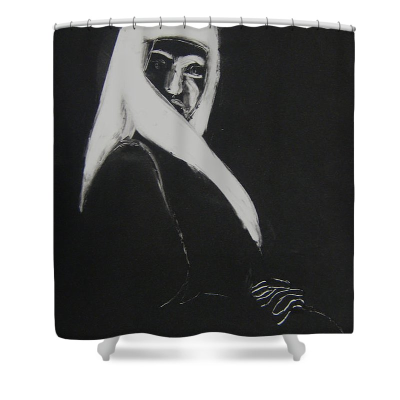 Headdress Shower Curtain featuring the drawing Waiting by Gabrielle Wilson-Sealy