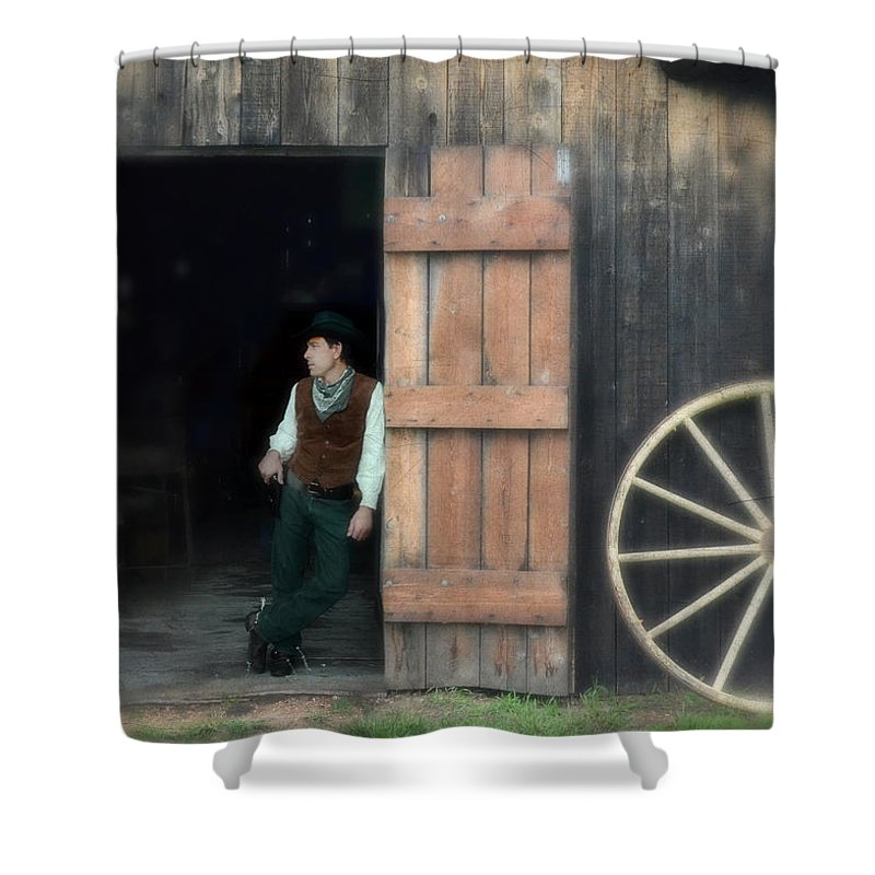 Man Shower Curtain Featuring The Photograph Cowboy Leaning On Barn Door By Jill Battaglia