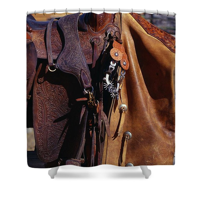 Western Shower Curtain featuring the photograph Cowboys Saddle And Chaps Detail by Natural Selection Craig Tuttle