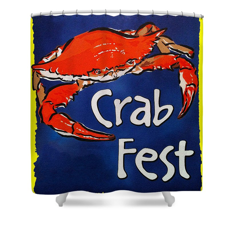 Crab Fest Shower Curtain featuring the digital art Crab Fest by Bill Cannon