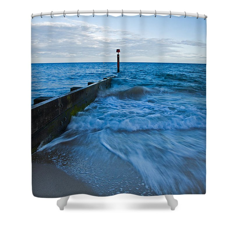 Bournemouth Shower Curtain featuring the photograph Crashing Waves At Bournemouth Beach by Ian Middleton