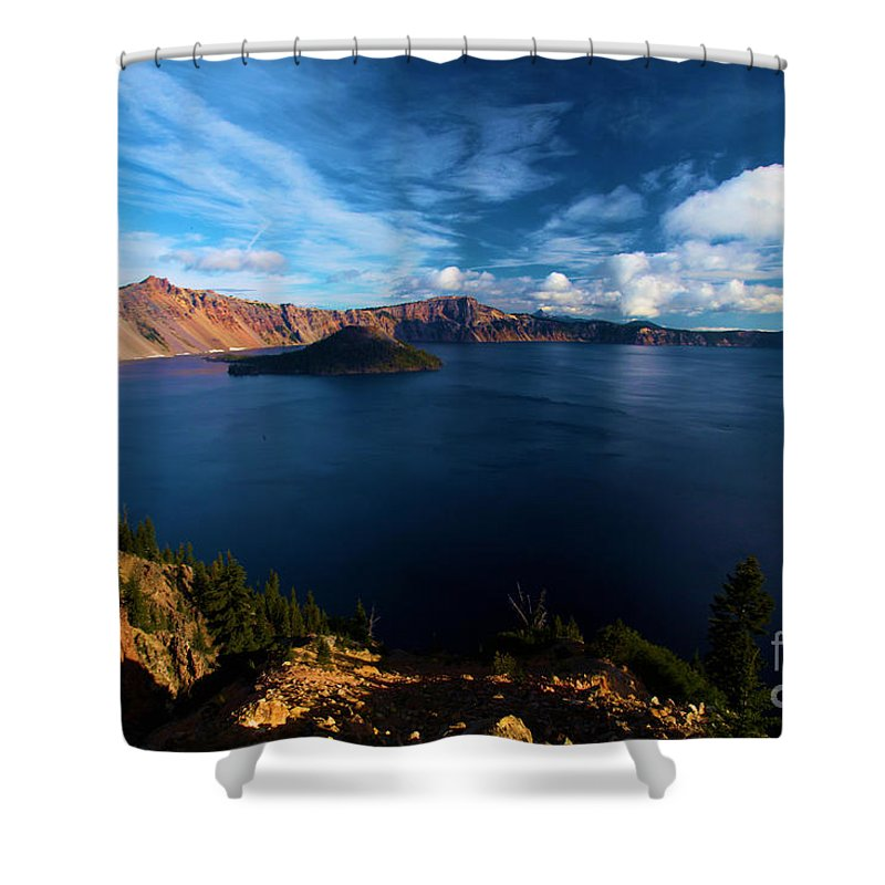 Crater Lake National Park Shower Curtain featuring the photograph Crater Lake Minus Trees by Adam Jewell
