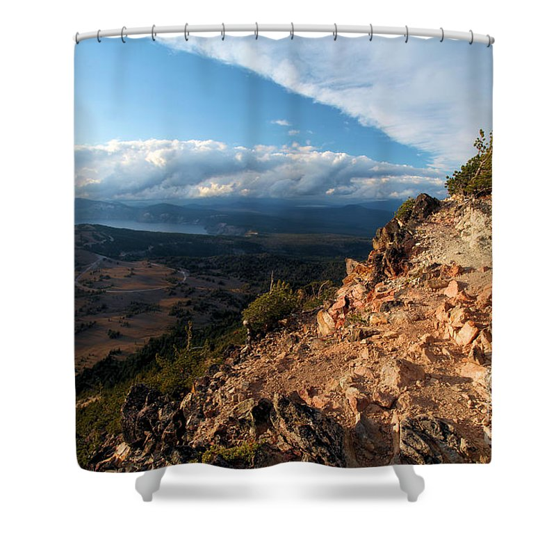 Crater Lake National Park Shower Curtain featuring the photograph Crater Lake Mountains by Adam Jewell