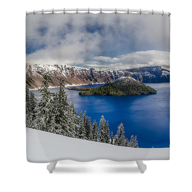 Crater Lake National Park Shower Curtain featuring the photograph Crater Lake Panorama 1 by Greg Nyquist