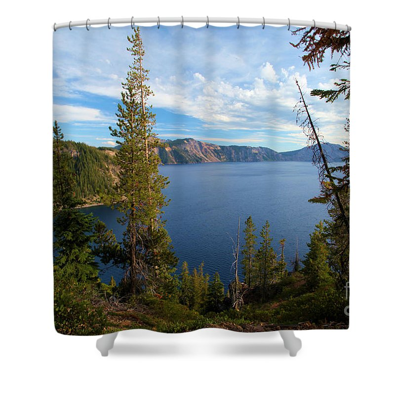 Crater Lake National Park Shower Curtain featuring the photograph Crater Lake Through The Trees by Adam Jewell