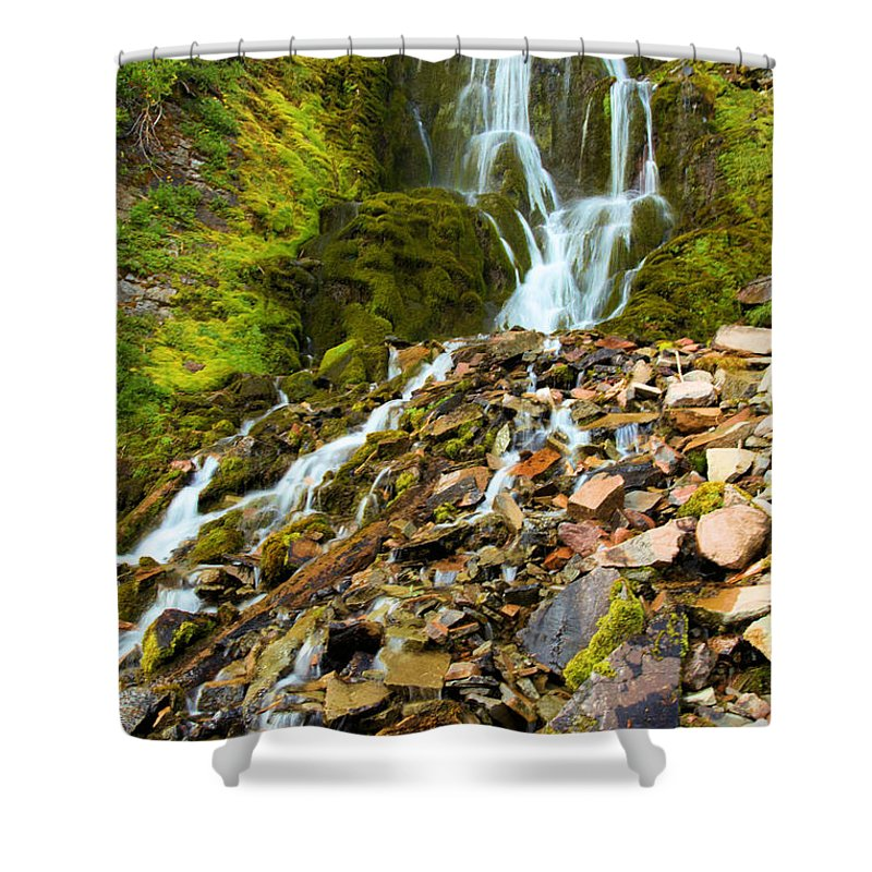 Vidae Falls Shower Curtain featuring the photograph Crater Lake Waterfall by Adam Jewell