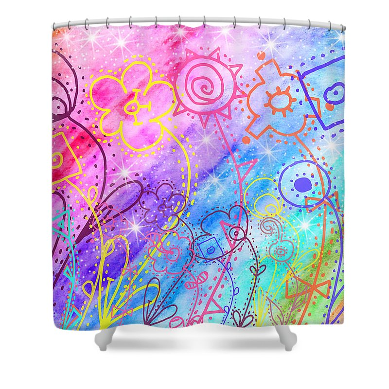 Watercolor Shower Curtain featuring the painting Crazy Flower Garden by Debbie Portwood