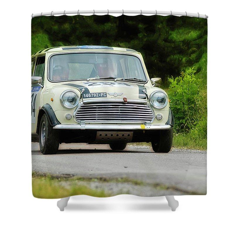 Car Shower Curtain featuring the photograph Cream Mini Innocenti by Alain De Maximy