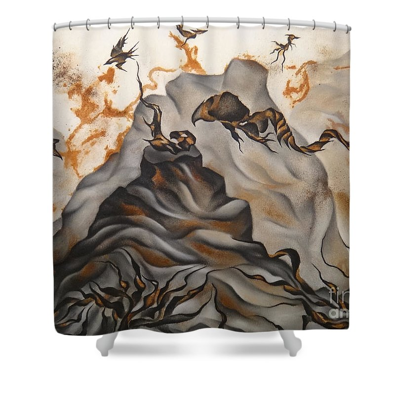 Rust Shower Curtain featuring the drawing Creation by Heather Crowther
