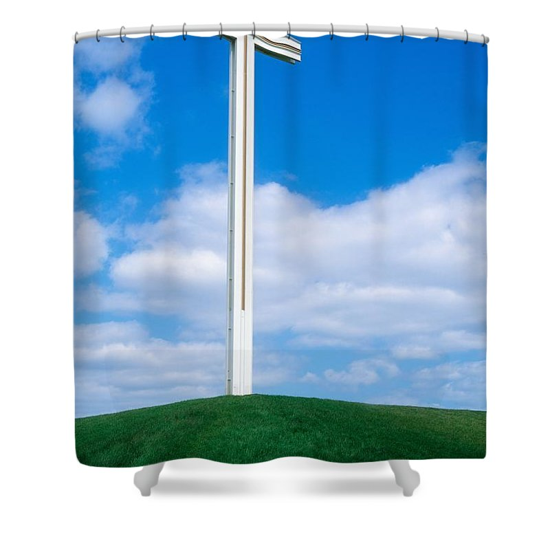 Blue Sky Shower Curtain featuring the photograph Cross Built For The Late Pope John Paul by The Irish Image Collection