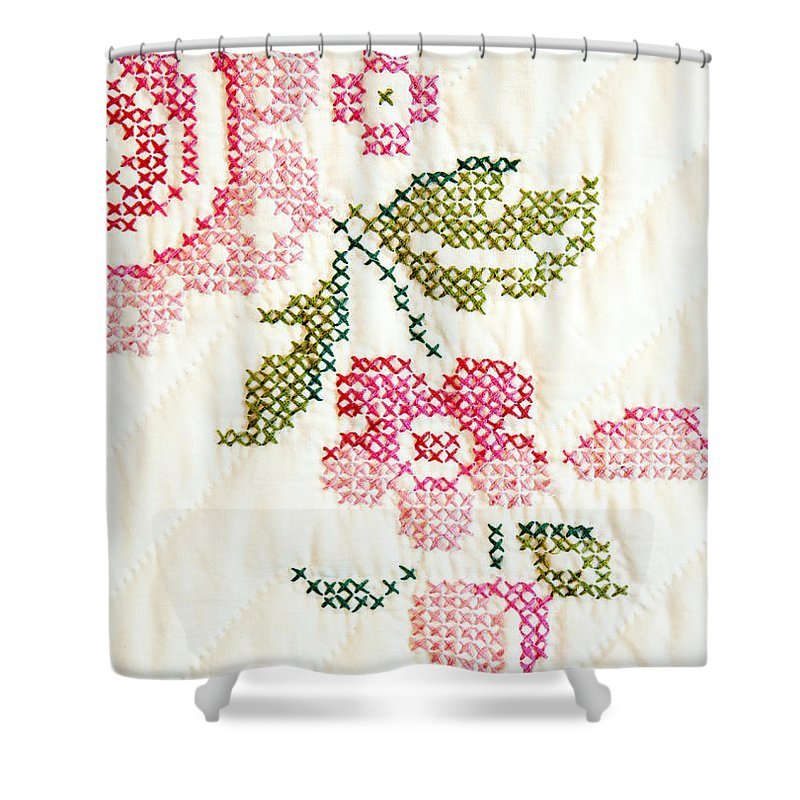 Cross-stitch Shower Curtain featuring the photograph Cross Stitch Flower 1 by Marilyn Hunt